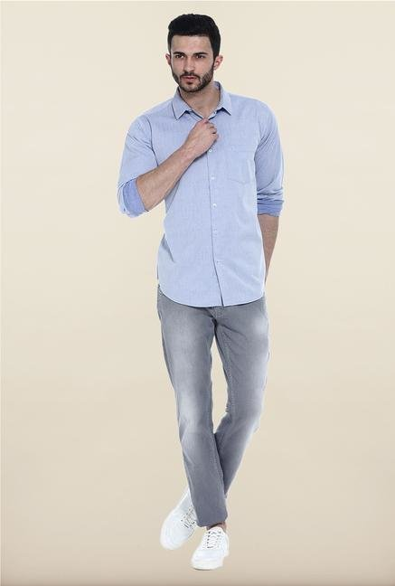Basics Blue Solid Cotton Casual Shirt