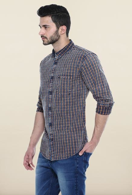 Basics Orange And Navy Checks Casual Shirt