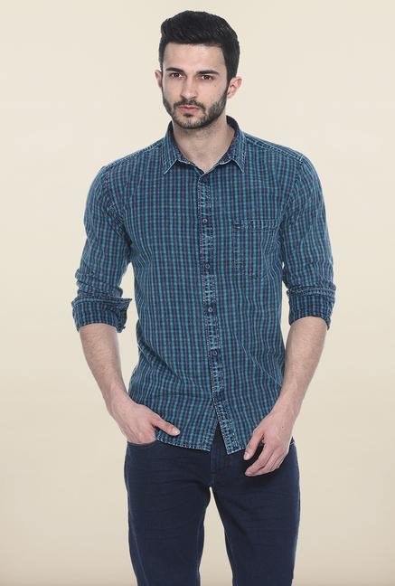 Basics Turquoise Checks Casual Shirt