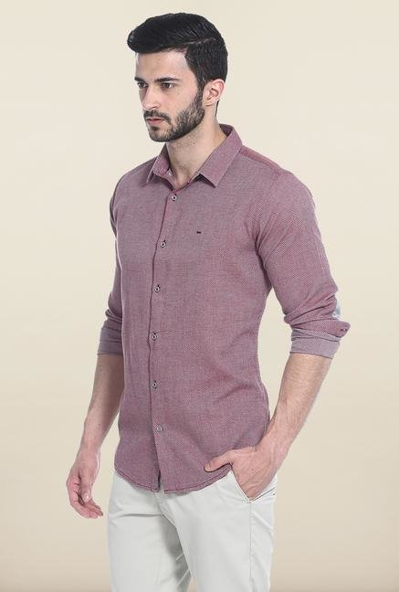 Basics Purple Self Print Cotton Casual Shirt