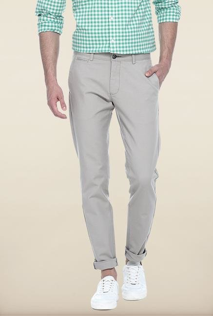 Basics Light Grey Solid Straight Fit Chinos