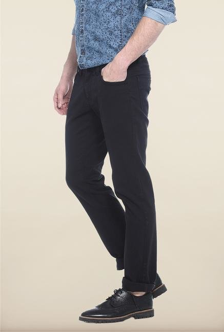 Basics Blue Solid Straight Fit Chinos