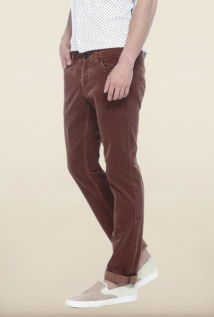 Basics Brown Solid Straight Fit Chinos