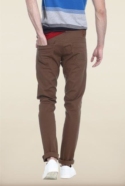 Basics Mid Brown Solid Straight Fit Chinos
