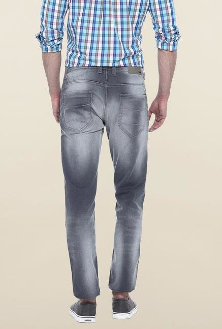 Basics Grey Heavily Washed Slim Fit Jeans