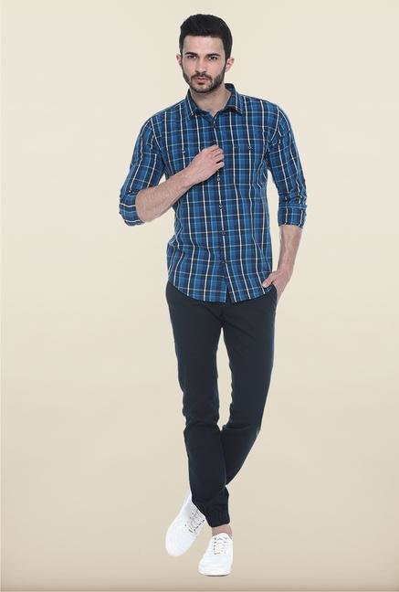 Basics Navy Solid Straight Fit Chinos