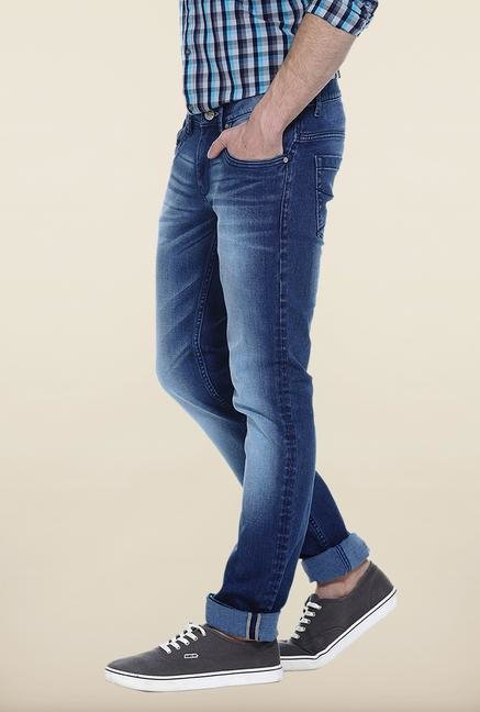 Basics Blue Solid Slim Fit Jeans