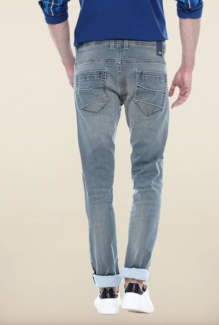 Basics Grey Solid Slim Fit Jeans