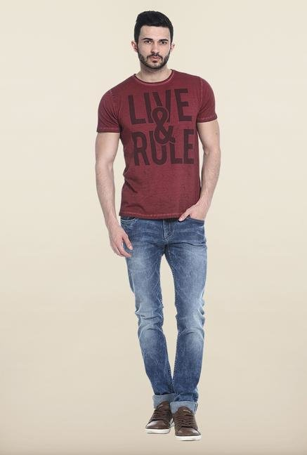 Basics Blue Lightly Washed Solid Slim Fit Jeans
