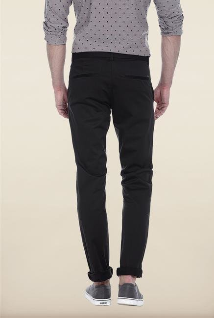 Basics Grey Solid Straight Fit Chinos