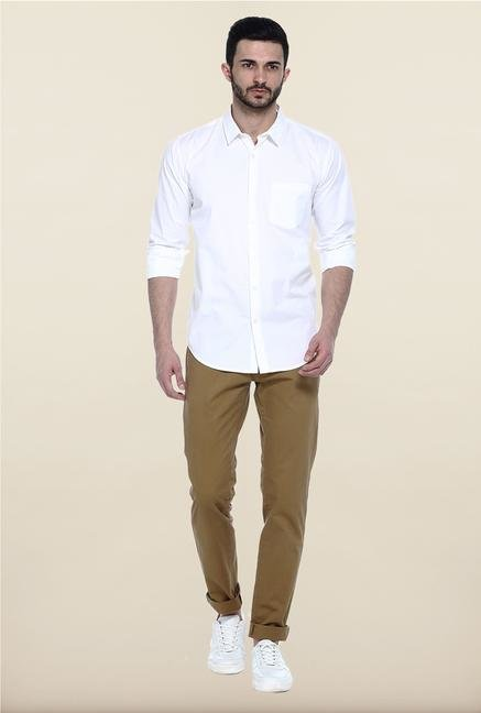 Basics White Solid Cotton Casual Shirt