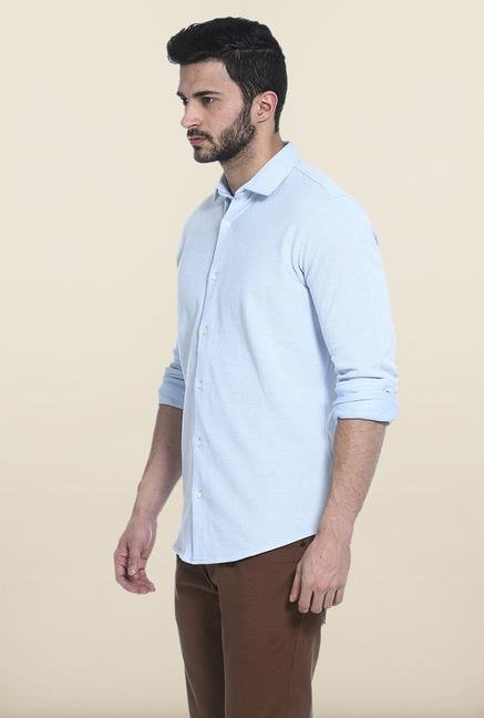Basics Sky Blue Solid Cotton Casual Shirt