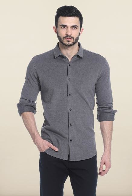 Basics Black Solid Cotton Casual Shirt