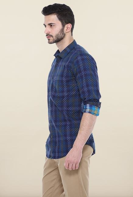 Basics Navy Cotton Casual Shirt
