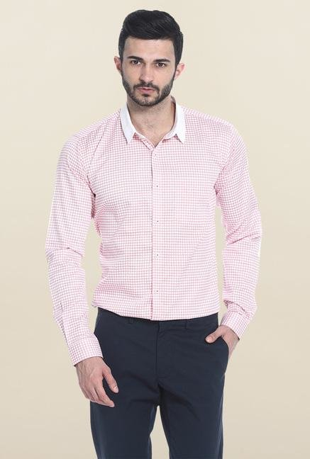 Basics Pink Printed Casual Shirt