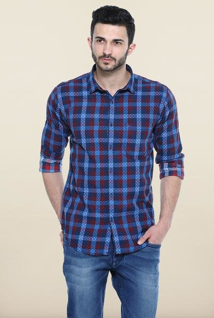 Basics Blue Checked Casual Shirt