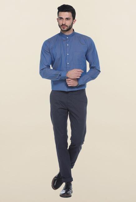 Basics Blue Printed Mandarin Collar Shirt