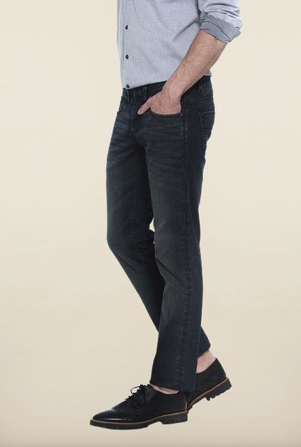 Basics Black Lightly Washed Solid Slim Fit Jeans