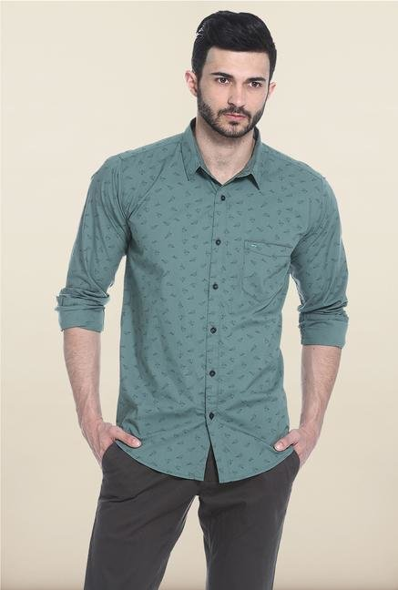 Basics Green Printed Casual Shirt