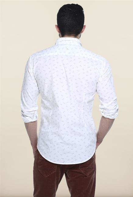 Basics White Printed Casual Shirt