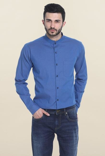 Basics Blue Dot Print Mandarin Collar Shirt