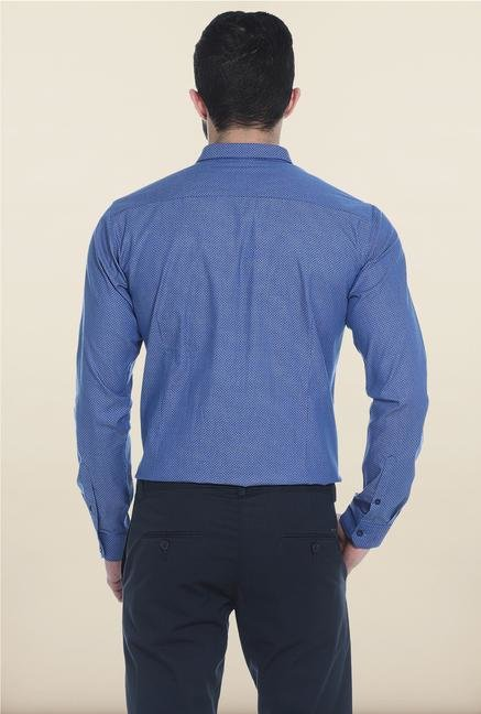 Basics Blue Self Print Cotton Casual Shirt
