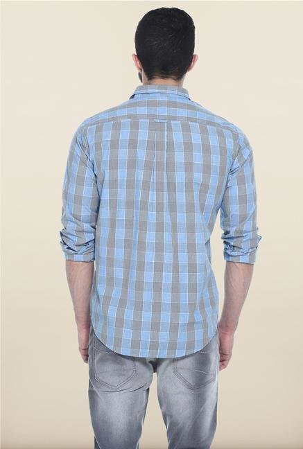 Basics Blue Checks Slim Fit Casual Shirt