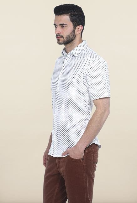 Basics White Printed Cotton Casual Shirt
