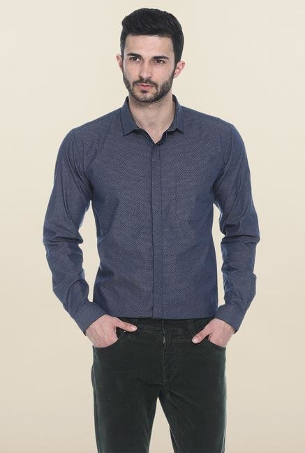Basics Navy Self Print Casual Shirt