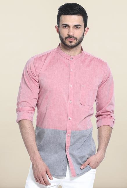 Basics Pink & Grey Solid Cotton Casual Shirt