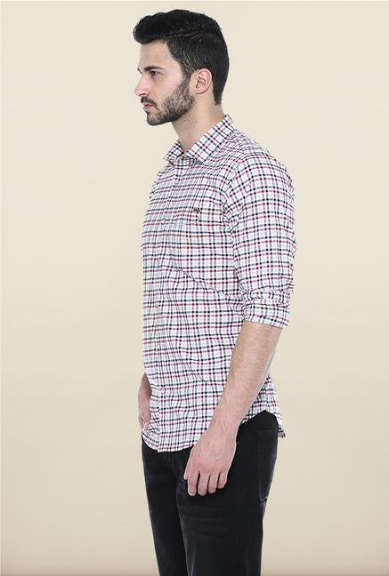 Basics Red Checks Slim Fit Casual Shirt