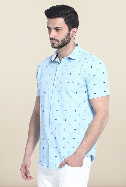 Basics Aqua Blue Self Print Casual Shirt