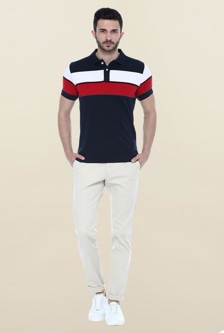 Basics Navy Stripes Polo T-Shirt
