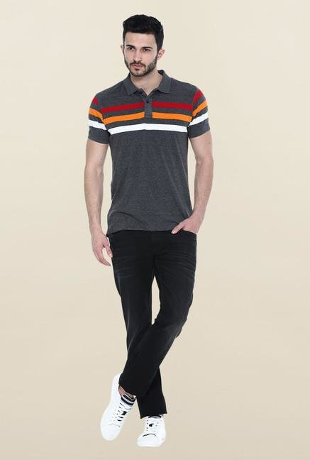 Basics Dark Grey Stripes Polo T-Shirt