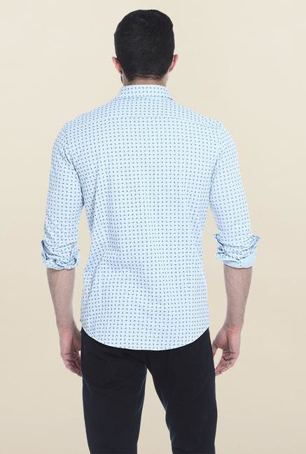 Basics Blue Slim Fit Casual Shirt