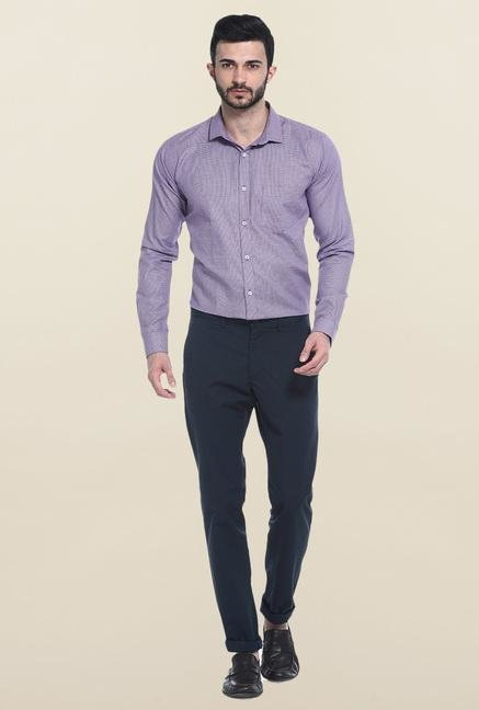 Basics Lavender Self Print Casual Shirt