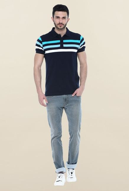 Basics Navy Stripes Slim Fit Polo T-Shirt