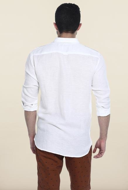 Basics White Solid Linen Casual Shirt