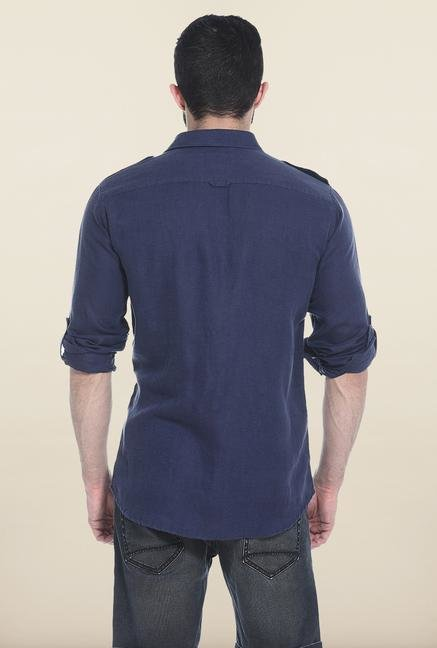 Basics Navy Solid Casual Shirt