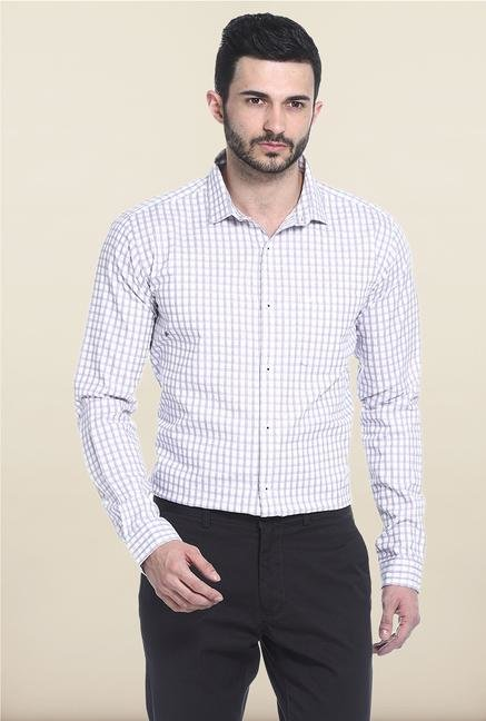 Basics White Checks Casual Shirt