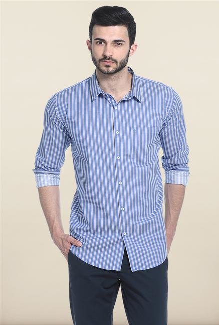 Basics Blue Striped Casual Shirt