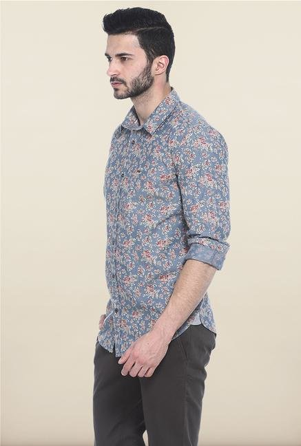 Basics Blue Floral Printed Casual Shirt