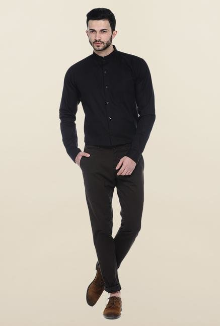 Basics Black Mandarin Collar Casual Shirt