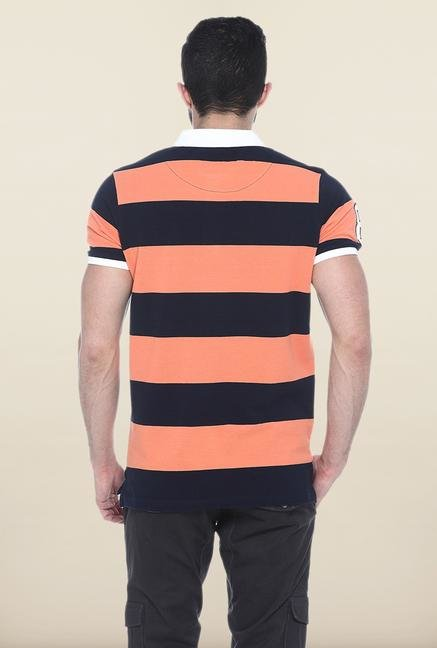 Basics Peach & Black Polo T-Shirt