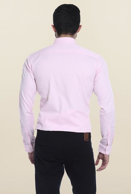 Basics Pink Solid Mandarin Collar Shirt