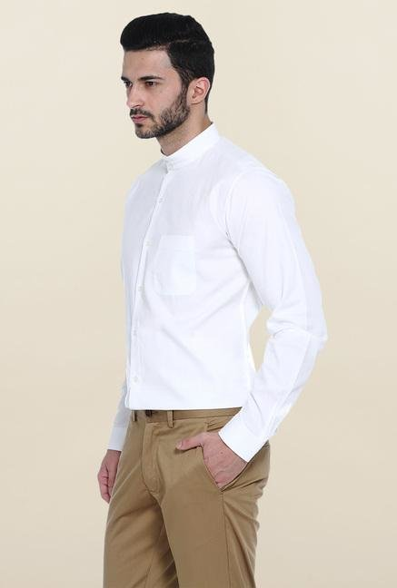 Basics White Slim Fit Cotton Mandarin Collar Shirt