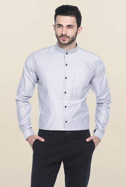 Basics Light Grey Solid Casual Shirt