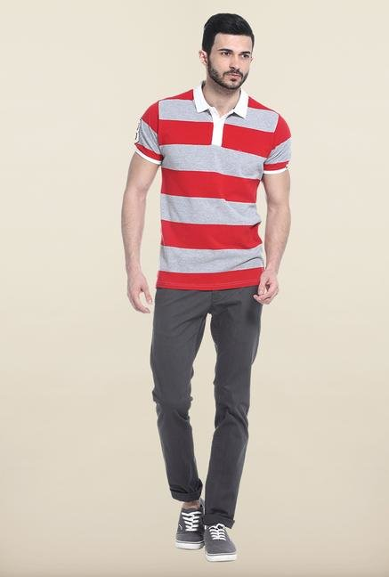 Basics Red & Grey Polo T-Shirt