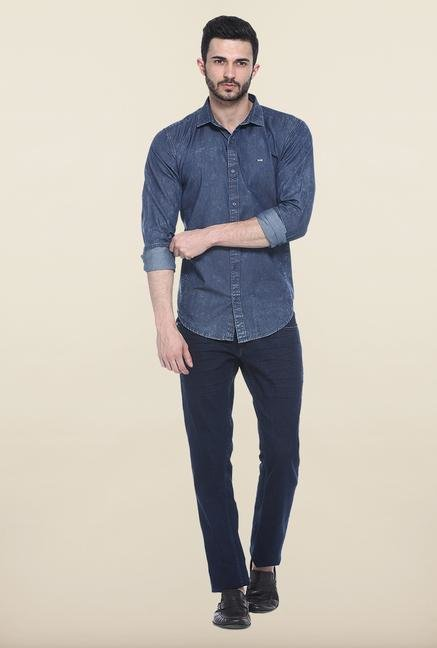 Basics Blue Slim Fit Cotton Casual Shirt