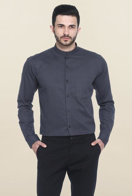 Basics Dark Grey Printed Casual Shirt